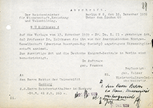 Reich Ministry of Education, dated 18 Dec 1939, allowing Holthusen to accept his honorary membership in the American College of Radiation